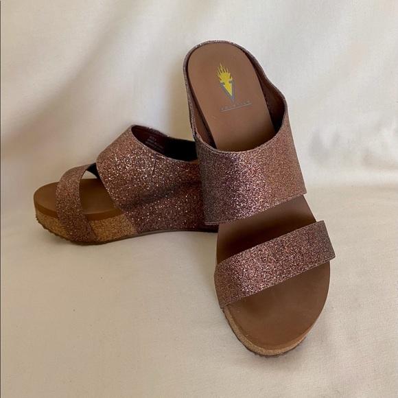 Volatile Glowing Glitter Platform Wedge Sandal